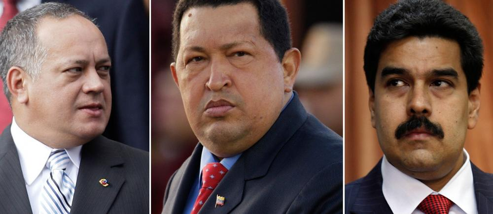 (L-R) Venezuela's National Assembly President Diosdado Cabello, President Hugo Chavez and Vice President Nicolas Maduro. Chavez is due to be sworn in for a new term on Jan. 10, 2013. Analysts have speculated that differences might emerge between factions led by Maduro, Chavez's chosen successor, and Cabello, who is thought to wield power within the military and who would be in line to temporarily assume the presidency until a new election can be held. (Ariana Cubillos, Natacha Pisarenko/AP)