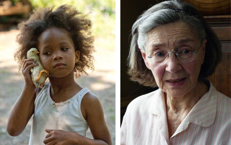 Nine-year-old Quvenzhané Wallis and 85-year-old Emmanuelle Riva are the youngest and oldest ever nominees for Best Actress. (Fox Searchlight Pictures, Sony Pictures Classics)