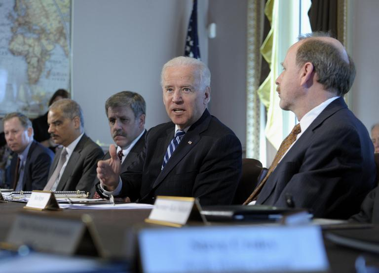 President Joe Biden, second from right, gestures as he speaks during a meeting with Sportsmen and Women and Wildlife Interest Groups and member of his cabinet, Thursday in the Eisenhower Executive Office Building on the White House complex in Washington. (Susan Walsh/AP)