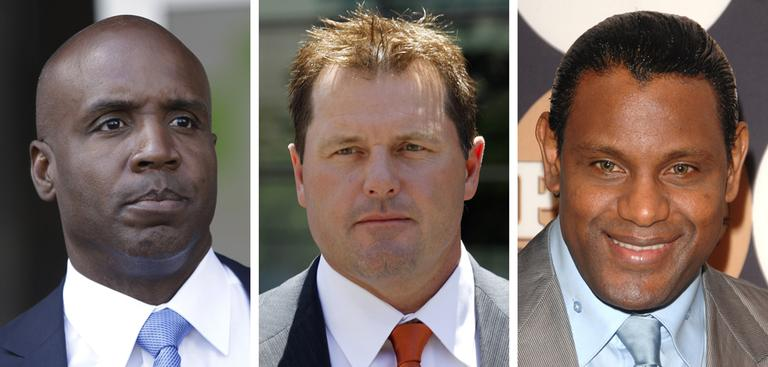 "At left, in a June 2011 file photo, former San Francisco Giants baseball player Barry Bonds leaves federal court in San Francisco. At center, in July 2011, former Major League baseball pitcher Roger Clemens leaves federal court in Washington. At right in May 2009, former baseball player Sammy Sosa attends the People En Espanol ""50 Most Beautiful"" gala in New York. (AP)"