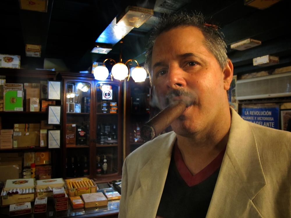 "Shea: ""Manny, our Cuban tour guide, took me and another American to see a hidden cigar club in the Conde de Villanueva hotel. I was told Reinaldo Ruiz, this ""torcerdores"" or ""master cigar roller,"" is one of the best in Cuba."""