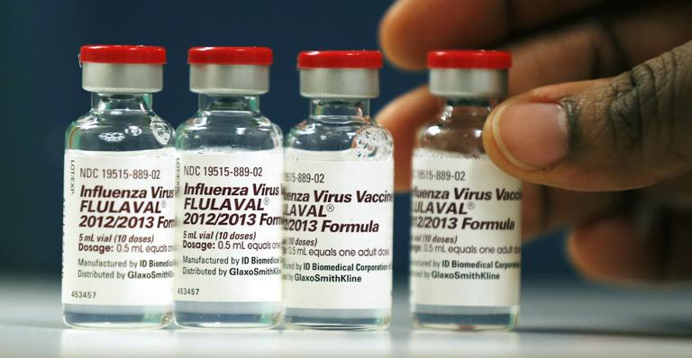 Vials of flu vaccine at the Whittier Street Health Center in Boston. Boston declared a public health emergency Wednesday (Charles Krupa/AP)