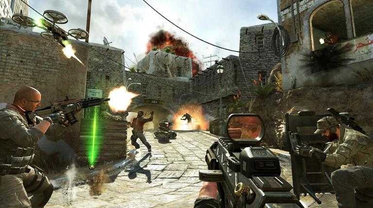 "This undated publicity image released by Activision shows soldiers and terrorists battling in the streets of Yemen in a scene from the video game, ""Call of Duty: Black Ops II."" (Activision/AP)"