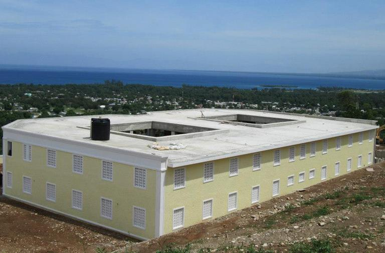 "The new Be Like Brit orphanage in Grand Goave, Haiti, in the shape of a ""B"" (Courtesy Be Like Brit)"