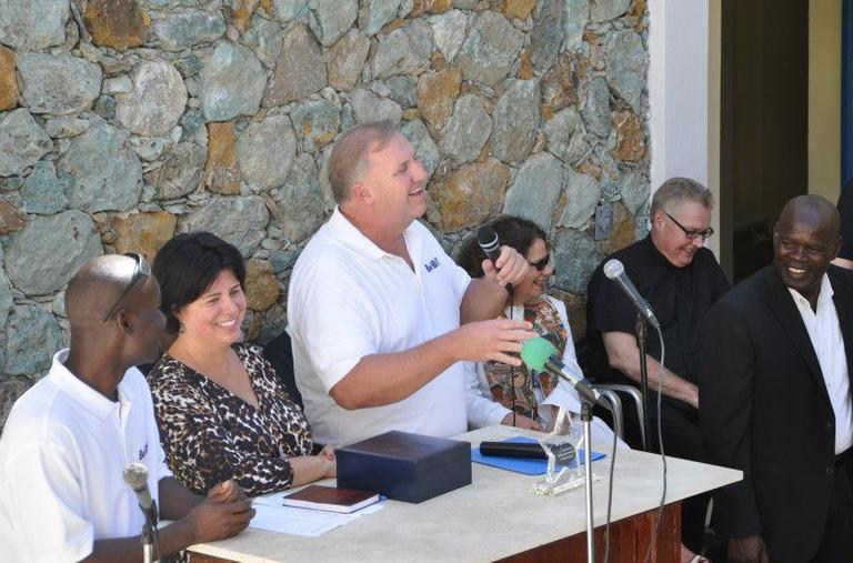 Parents Cherylann and Len Gengel, second and third from the left, at the dedication of the orphanage on Jan. 5 (Courtesy)