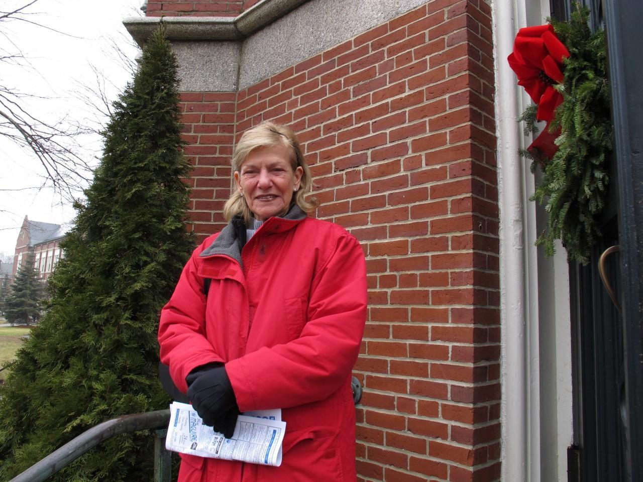 Our Lady Help of Christians parishioner Mary Cacioppo is supportive of the collaborative but worries there will be fewer Masses. (Monica Brady-Myerov/WBUR)