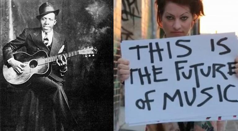 A longtime music critic is teaching the history of rock, from bluesman Robert Johnson (left) back in the 1930s, to Amanda Palmer (right) using Kickstarter and Twitter to reach fans today. (Wikimedia Commons, Kickstarter screenshot)