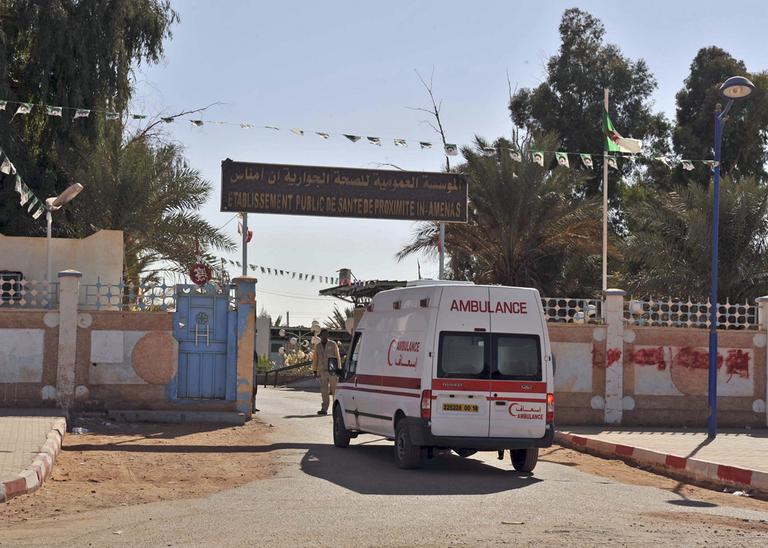 An ambulance enters an hospital near the Algerian gas plant where foreign workers were taken hostage by Islamic militants, in Ain Amenas, Saturday, Jan. 19, 2013. (Anis Belghoul/AP)