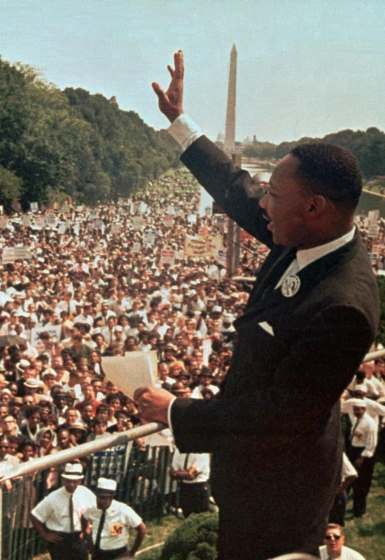 Dr. Martin Luther King Jr. acknowledges the crowd during the March on Washington, Aug. 28, 1963. (AP, File)