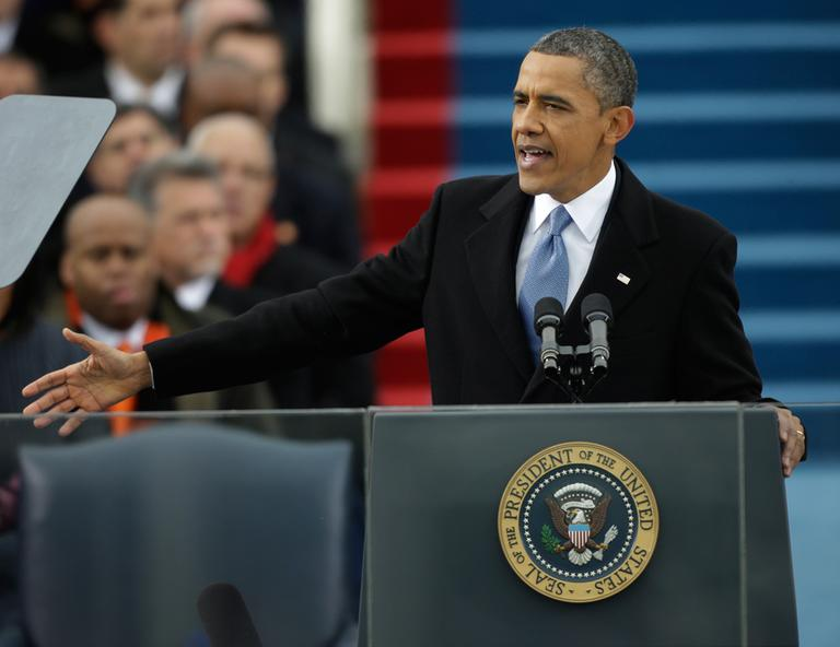 President Barack Obama speaks at his ceremonial swearing-in at the U.S. Capitol during the 57th Presidential Inauguration in Washington, Monday, Jan. 21, 2013. (Pablo Martinez Monsivais/AP)