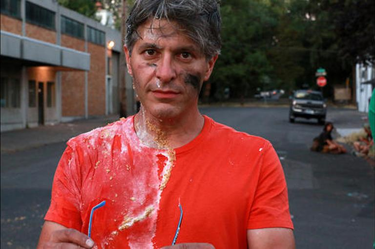 """My bike joust battle paint mixed with a cream pie… don't ask!"" - Geoff Edgers, host of the Travel Channel's ""Edge of America."" (Travel Channel)"