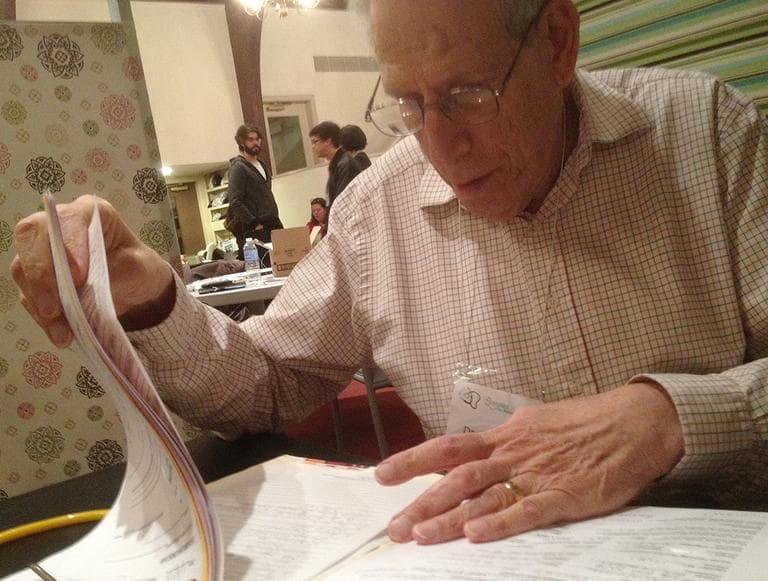 Dr. Dick Wolk, at the MetroWest Free Medical Program (Martha Bebinger/WBUR)