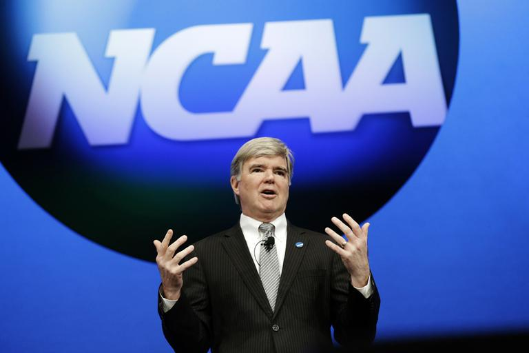 NCAA President Mark Emmert speaks at the organization's annual convention, in Grapevine, Texas in January 2013. (LM Otero/AP)