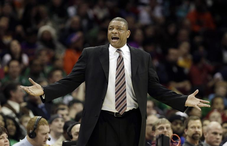 Celtics head coach Doc Rivers reacts during the second quarter of an NBA basketball game against the Cleveland Cavaliers on Tuesday. (AP/Tony Dejak)