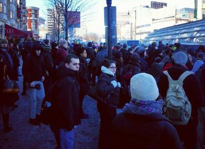 Commutes wait for shuttle buses outside Kenmore station. (mahhk/Instagram)