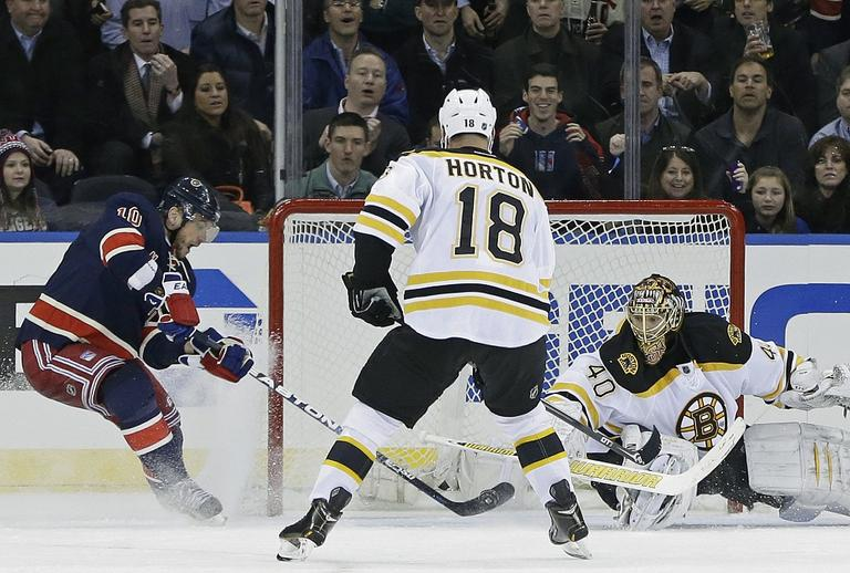 New York Rangers right wing Marian Gaborik (10) maneuvers the puck against Boston Bruins goalie Tuukka Rask (40) as Bruins right wing Nathan Horton (18) watches in the third period. (Kathy Willens/AP)