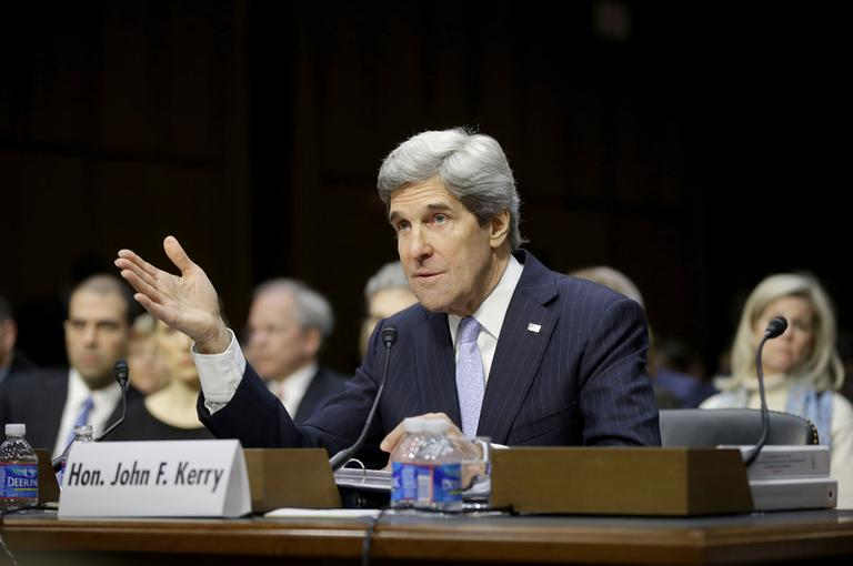 Senate Foreign Relations Chairman Sen. John Kerry, D-Mass., testifies on Capitol Hill in Washington on Thursday before his confirmation hearing to become the next top diplomat, replacing Secretary of State Hillary Rodham Clinton. (Pablo Martinez Monsivais/AP)