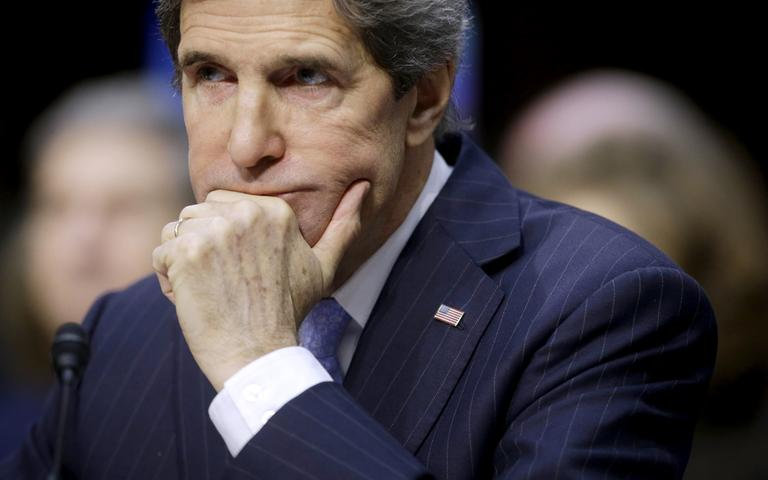 Senate Foreign Relations Chairman Sen. John Kerry testifies on Capitol Hill Thursday during his confirmation hearing to become the secretary of state. The hearing is the first of three for Obama's national security nominees and the least controversial. (Pablo Martinez Monsivais/AP)