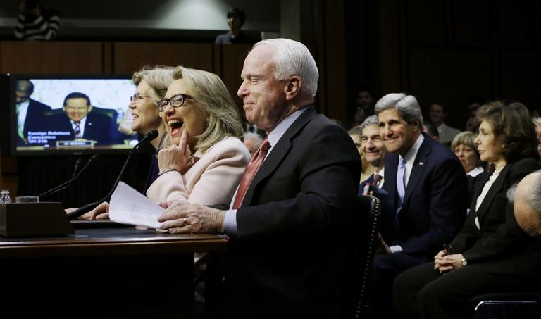 Sen. John Kerry was introduced by Sen. Elizabeth Warren, current Secretary of State Hillary Clinton, and Sen. John McCain. (Pablo Martinez Monsivais/AP)