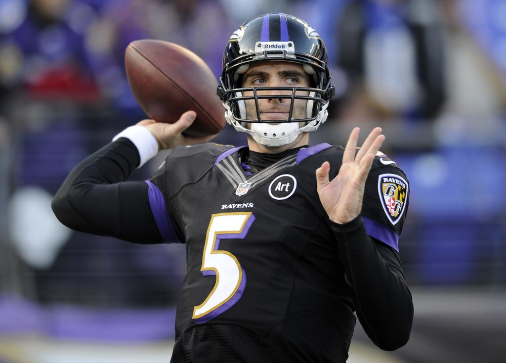 Baltimore quarterback Joe Flacco aced the Patriots' defense in the second half of the AFC Championship last Sunday, but how did he do in high school calculus class? (Nick Wass/AP)