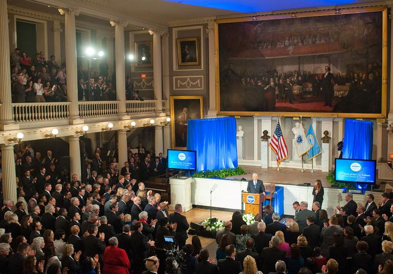 Mayor Thomas Menino gives the annual state of the city address Tuesday night at Faneuil Hall in Boston. (Jeremiah Robinson/Mayor's Office )