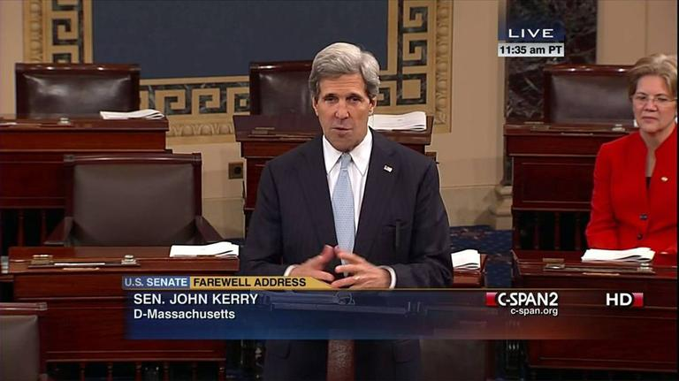In this screengrab provided by C-SPAN2, Sen. John Kerry gives his last speech as senator Wednesday. (AP)
