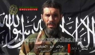 Algerian Islamic extremist Mokhtar Belmokhtar speaks in a video claiming responsibility in the name of al-Qaida for the hostage-taking earlier this month at a remote gas plant in Algeria. (Screenshot)