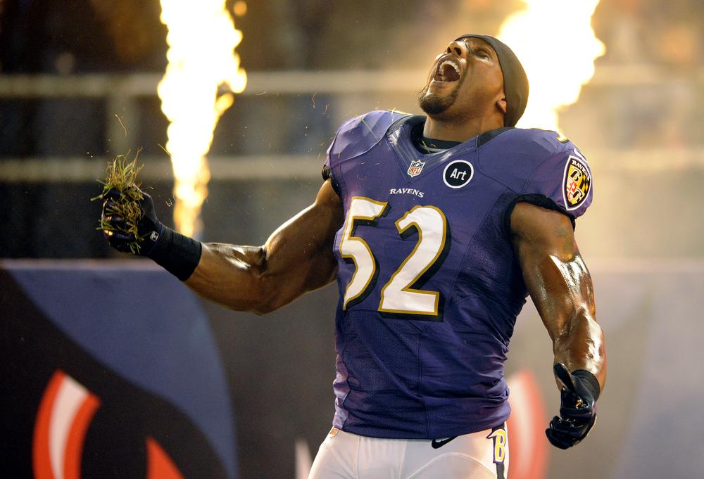 Is Baltimore Ravens linebacker Ray Lewis a larger-than-life character? (Nick Wass/AP)