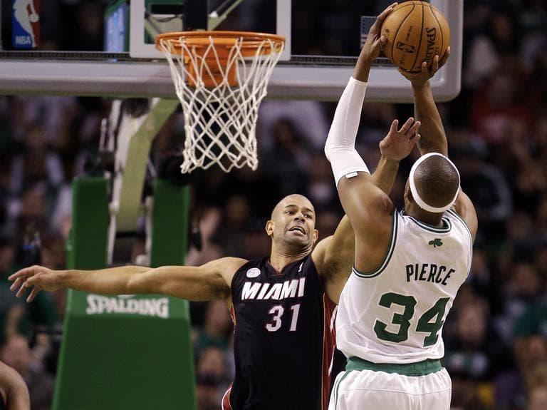 Paul Pierce (34) shoots over Miami Heat forward Shane Battier (31). (Steven Senne/AP)