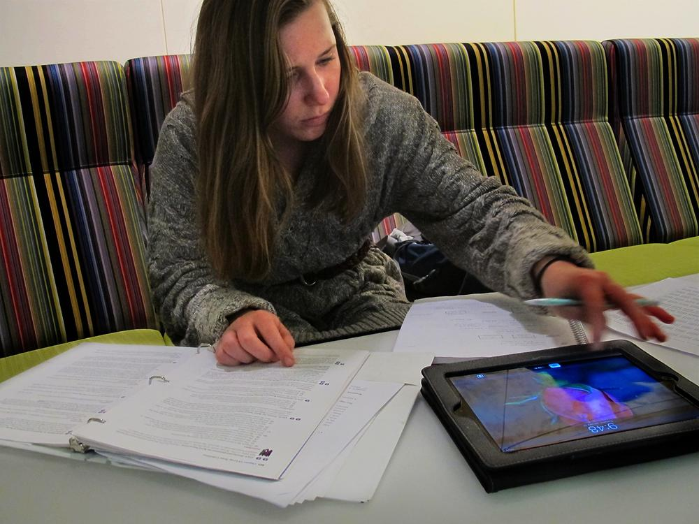 Stephanie Stanczyk tries to limit her multitasking, using her iPad only as a calculator while studying. (Curt Nickisch/WBUR)