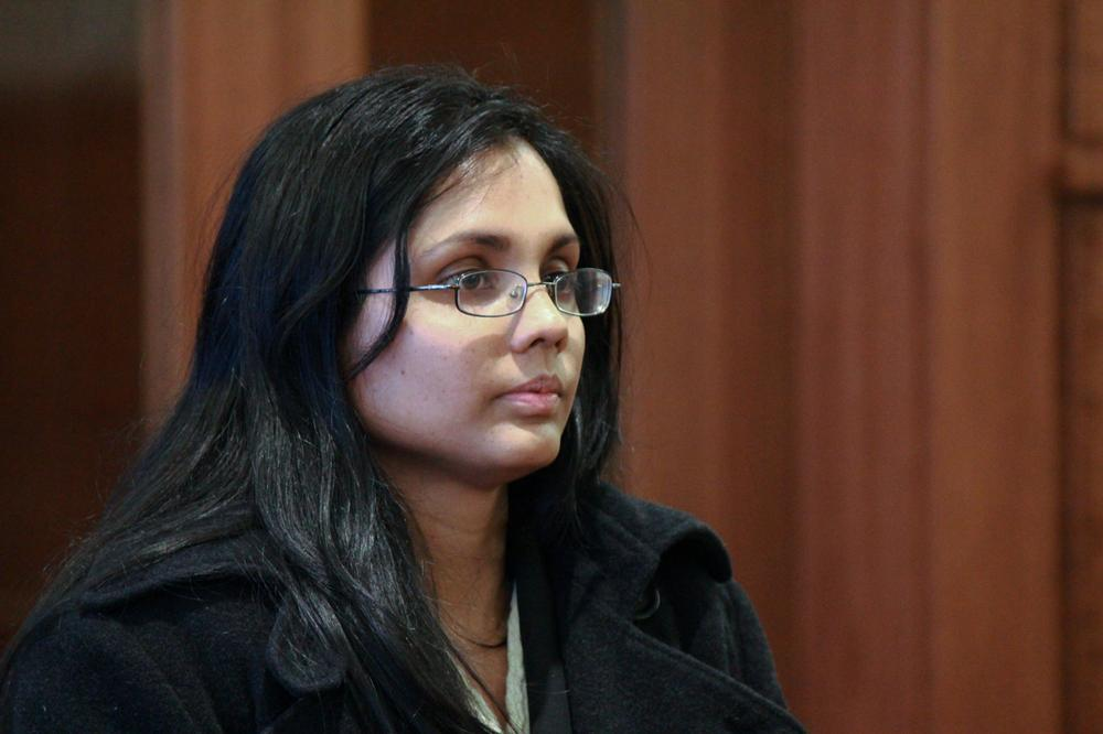 Ex-state chemist Annie Dookhan at her arraignment Wednesday. (Joe Spurr/WBUR)