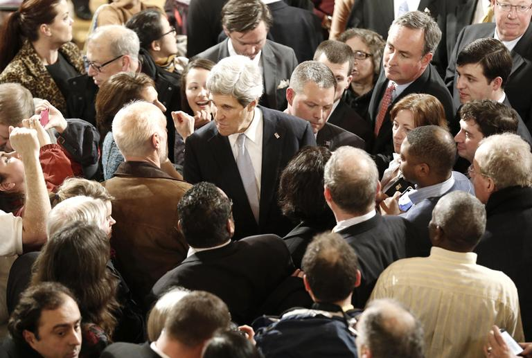 Sen. John Kerry greets constituents after his farewell speech at Faneuil Hall in Boston Thursday night. On Friday, he will step down from the office he has held for nearly three decades to become the next secretary of state. (Winslow Townson/AP)