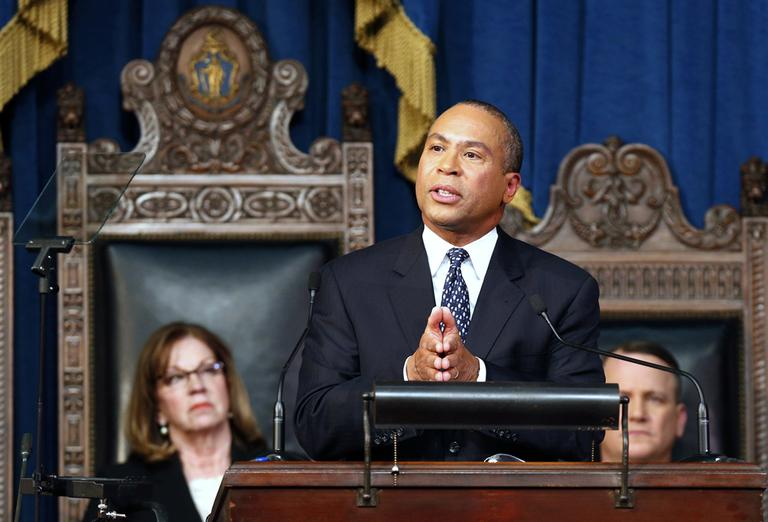 Massachusetts Gov. Deval Patrick delivers his State of the State address in the House Chambers at the Statehouse in Boston, Wednesday, Jan. 16, 2012. (AP Photo/Michael Dwyer)