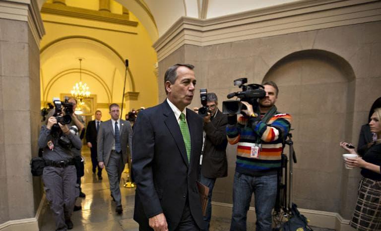 House Speaker John Boehner of Ohio arrives on Capitol Hill in Washington, Tuesday, Jan. 1, 2013, (AP)