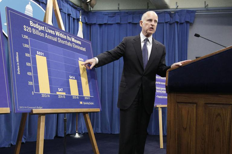 Gov. Jerry Brown points to a chart showing an increase in education funding in his proposed 2013-14 state budget. (AP)