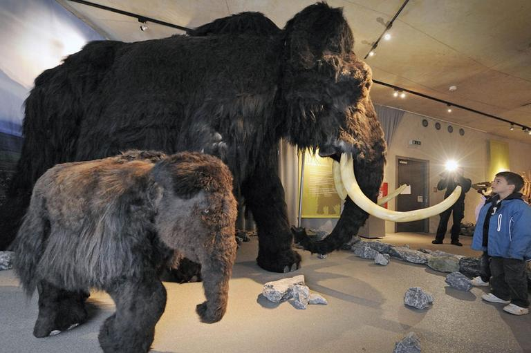Children watch a giant mammoth and a calf model at the Neanderthal Museum in Mettmann, Germany. (AP)