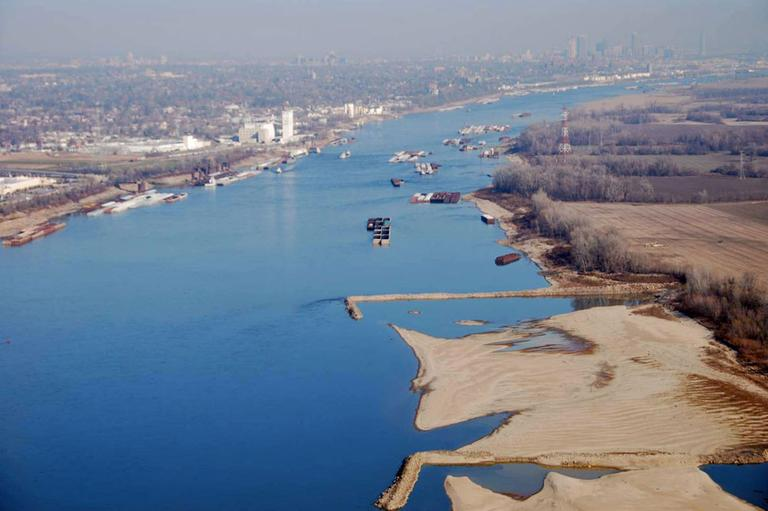 This Nov. 28, 2012 photo provided by The United States Coast Guard shows man-made dikes along the shoreline of the Mississippi River South of St. Louis. (AP/Coast Guard)