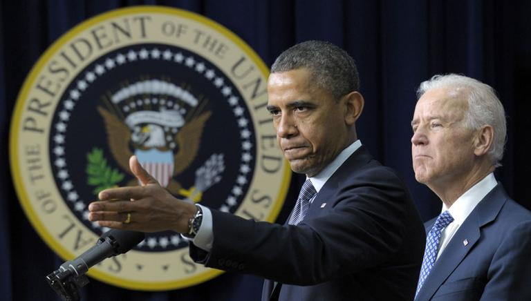 President Barack Obama, accompanied by Vice President Joe Biden, gestures as he talks about proposals to reduce gun violence, Wednesday, Jan. 16, 2013. (AP)