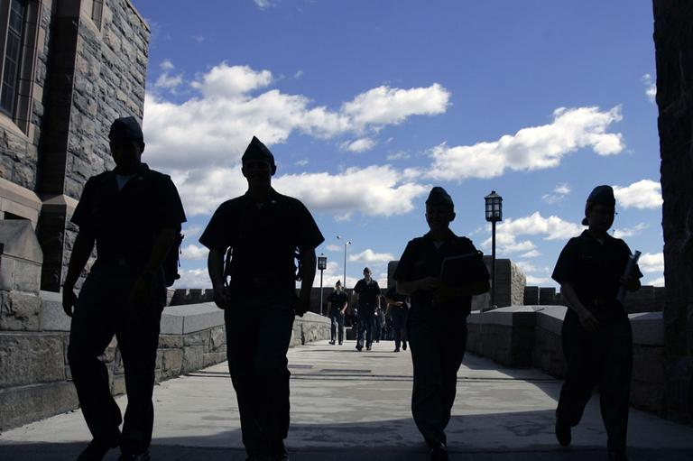 Cadets on campus at the United States Military Academy at West Point, N.Y. (AP)
