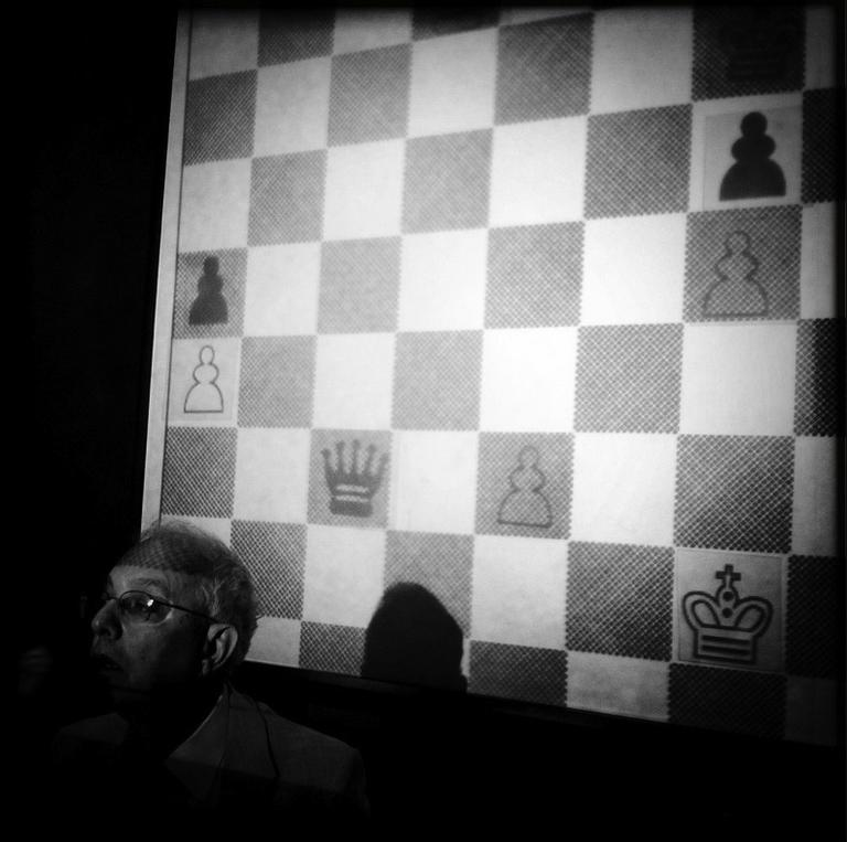 """Gerald Peary in """"Chess."""" (Photo by Wiley Wiggins)"""
