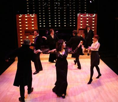"Paula Plum leads the cast of ""33 Variations"" in a minuet. (Photo courtesy of Lyric Stage Company of Boston/Mark S. Howard)"