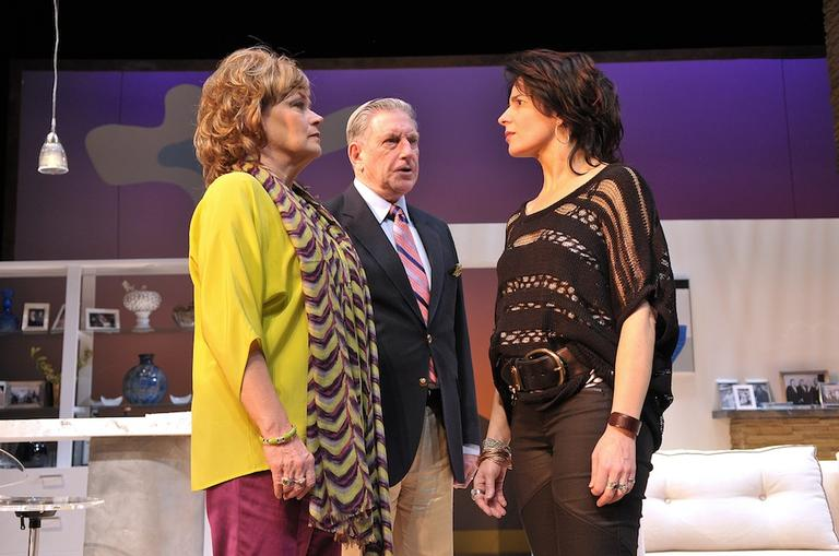 "Karen MacDonald, Munson Hicks and Anne Gottlieb confront each other in ""Other Desert Cities"" at SpeakEasy Stage Company. (Craig Bailey/Perspective Photo)"