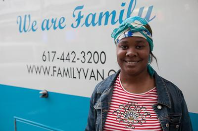 A patient, Geralyn Lynch, treated by staff at Boston's Family Van in Dorchester, Mass. (Photo: Mim Adkins)