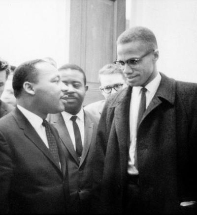 Martin Luther King, Jr. and Malcolm X meet during a Senate Debate on the Civil Rights Act of 1964. (Marion S. Trikosko/ Library of Congress Prints and Photographs Division, Washington, D.C.)