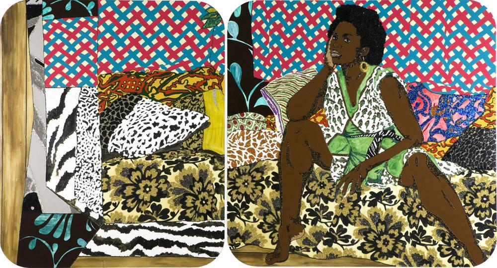 """Mickalene Thomas's 2007 painting """"Baby I Am Ready Now."""" (Courtesy of the artist and the ICA)"""
