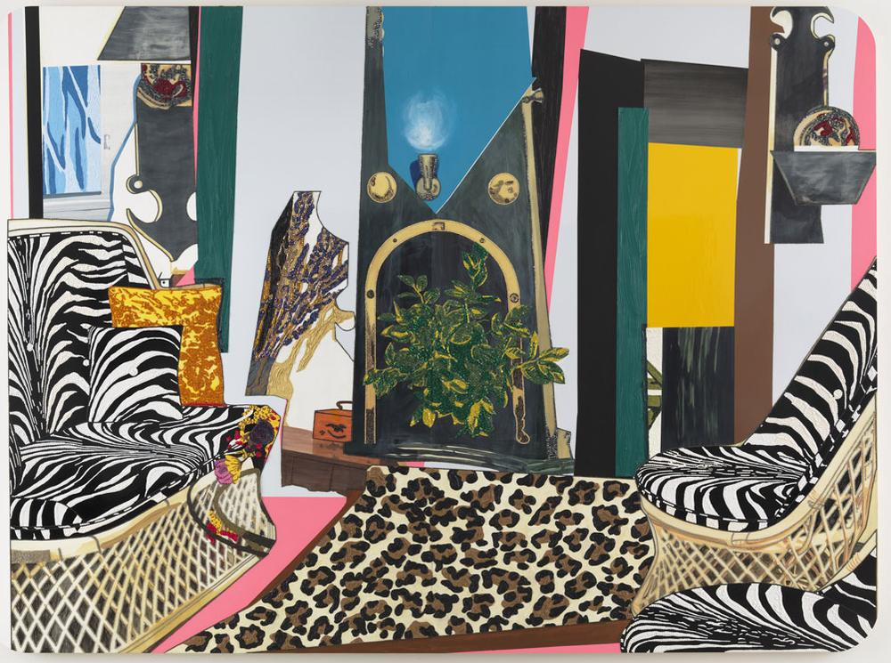 """Mickalene Thomas's 2012 painting """"Interior: Zebra with Two Chairs and Funky Fur."""" (Courtesy of the artist and the ICA)"""