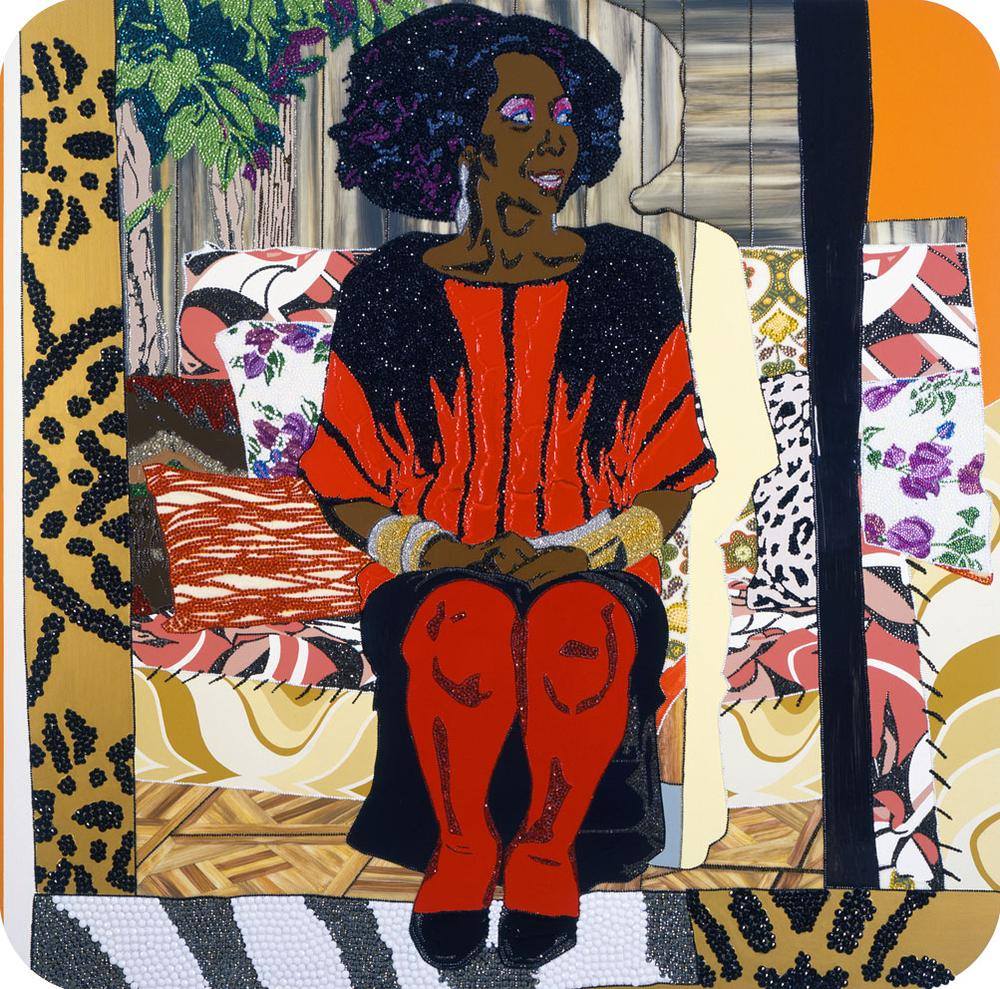 """Mickalene Thomas's 2009 painting of her mother, """"Sandra: She's a Beauty."""" (Courtesy of the artist and the ICA)"""