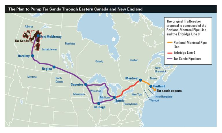 Map of proposed tar sands pipeline from the National Resources Council of Maine.