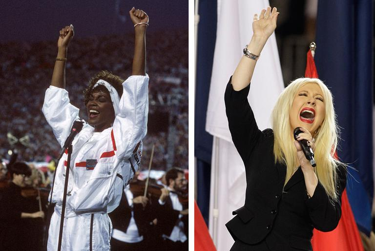 Whitney Houston, left, sings the national anthem at the 1991 Super Bowl. Christina Aguilera, right, sings the national anthem at the 2011 Super Bowl. (AP)