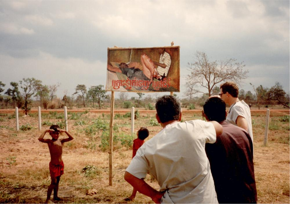 One of many posters created by Goldfeld and placed at the exit of a refugee camp on the Thai-Cambodian border in 1990 to remind people of the dangers of landmines. (Courtesy Anne Goldfeld/Global Health Committee)